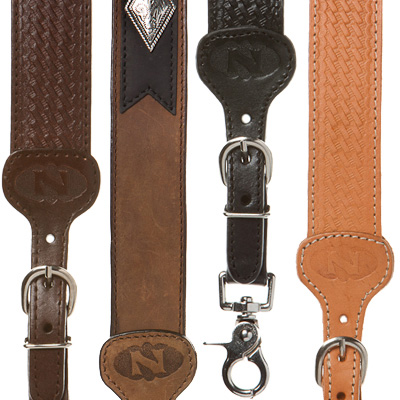 Brown and black leather suspenders