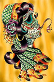 Cold Blooded Gypsy by Tyler Bredeweg Tattoo Art Print Day of the Dead Skull Rose
