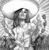 "Jaime ""Mouse"" Lopez Charra Girl Tattoo Canvas Art Print Black & White"