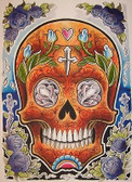 Opie Ortiz Orange Skull Tattoo Canvas Art Print