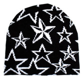 Black beanie with white stars.