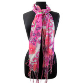 Pink floral scarf.