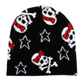 Black knit beanie with girly skull & crossbones.
