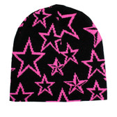 Black beanie with pink stars.