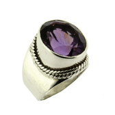 Amethyst sterling silver cocktail ring.