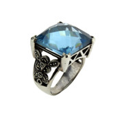 Blue CZ Marcasite ring.