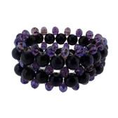 Purple Amethyst beaded stretch bracelet.