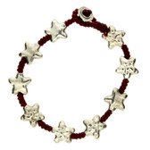 Hammered Star Alloy Bracelet Wrist Jewelry Waxed Linen Wristband Silver Colored