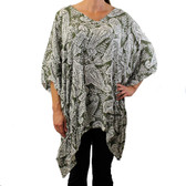 Green and white paisley caftan cover up.