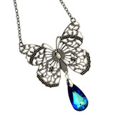 Antiqued silver plated butterfly necklace.
