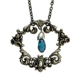 Silver plated floral frame necklace.