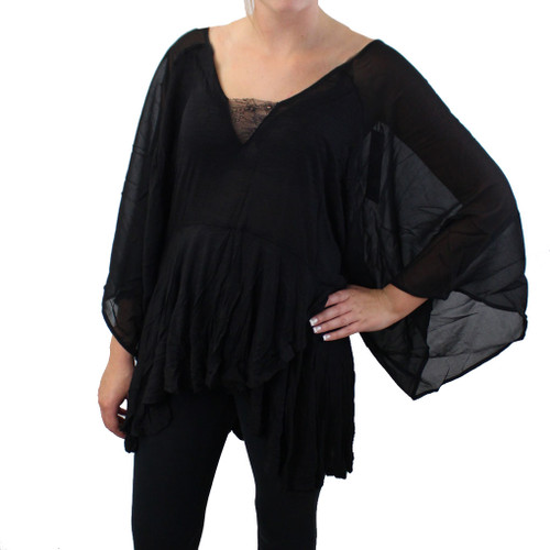 Sheer Black Blouse Long Sleeve Tunic Top Asymmetrical Bohemian Flowy