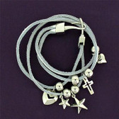 White Genuine Leather Wrap Charm Bracelet Wristband w/Dangle Cross Stars Hearts