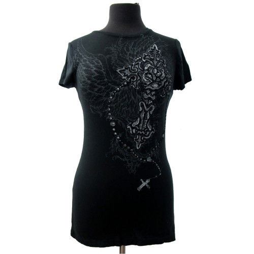 T Party Women's Shirt Black Cross Rose Rosary Wings Short Sleeve Tee