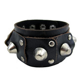 Leather bracelet with studs.