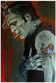 Broken Hearted by Mike Bell Tattoo Art Print Frankenstein Love Lost Monster