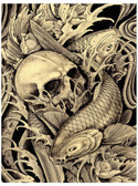 Koi & Skull by Clark North Tattoo Art Print Asian Japanese Fish Traditional