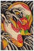Life's Journey by Clark North Tattoo Art Print Japanese Asian Koi Fish Flower