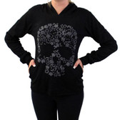Black Hoodie with Gray Floral Skull Shirt Long Sleeve Jacket Fair Trade