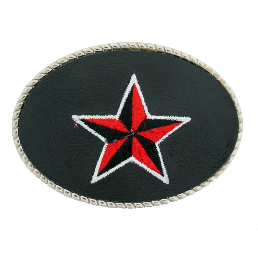 Black Red Embroidered Nautical Star Belt Buckle Faux Leather