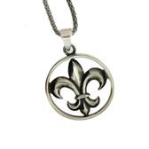 Sterling silver Fleur de LIs pendant.