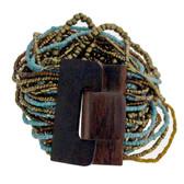 Bronze Turquoise Bali Bracelet Glass Beads Wood Buckle Elastic