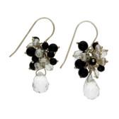 Black Onyx, Pearl and Quartz dangle earrings.