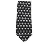 Men's Black Neck Tie with Little White Skulls Long