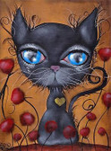 Poker by Abril Andrade Fine Art Print Big Eye Character Black Cat