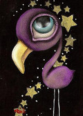 Purple Flamingo by Abril Andrade Fine Art Print Big Eye Character Bird
