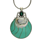 Sterling Silver Large Round Shell Green Quartz Gemstone Pendant