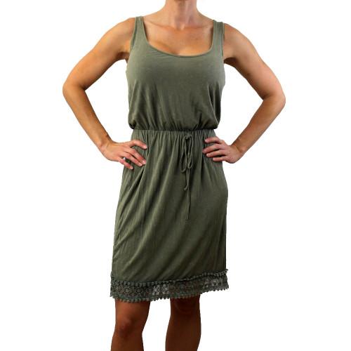 Olive stonewashed super soft tank dress with lace bottom.