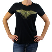 Black t-shirt with steampunk heart and wings.