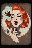 Smoking Hot by Amy Dowell Fine Art Print Rockabilly Pin Up Girl