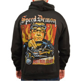 Speed Demon by Mike Bell Men's Black Zip Hoodie Tattoo Art Hot Rod Frankenstein