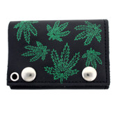Black leather wallet with screen marijuana leaves on outside.