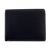 Black textured leather bi-fold with white stitching around edge.