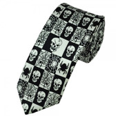 Checkered black and white neck tie with skulls, spiders and webs.
