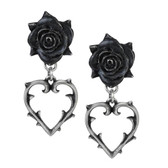Alchemy Gothic Wounded Love Earrings Heart and Black Rose E365