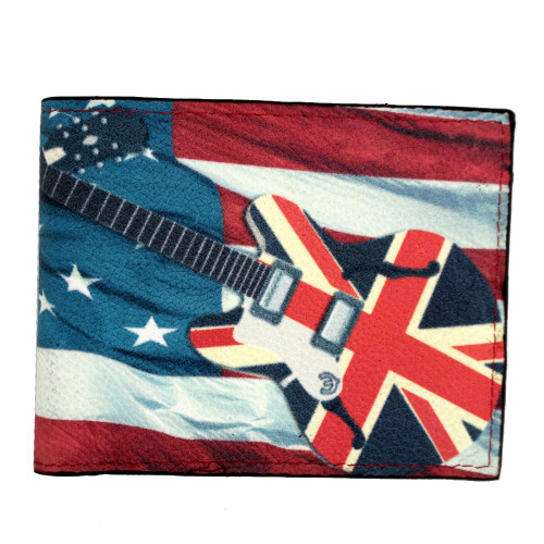 American flag with British guitar on outside of leather wallet.