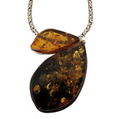 Large Amber sterling silver pendant.