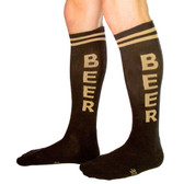 Men's or Women's BEER Black and Tan Athletic Knee High Socks