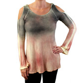 TParty thermal waffle fabric cold shoulder lightweight sweater.