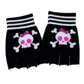 Black skull fingerless gloves.