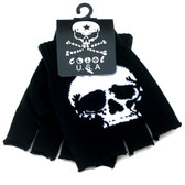 Black knitted fingerless gloves with white skull.