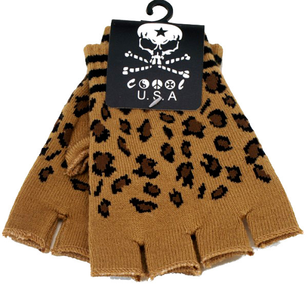 Knitted Brown Fingerless Gloves With Leopard Print