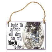 Blackside Hanging Metal Sign Ornament by Alchemy Gothic Tattooed Woman Purple Roses