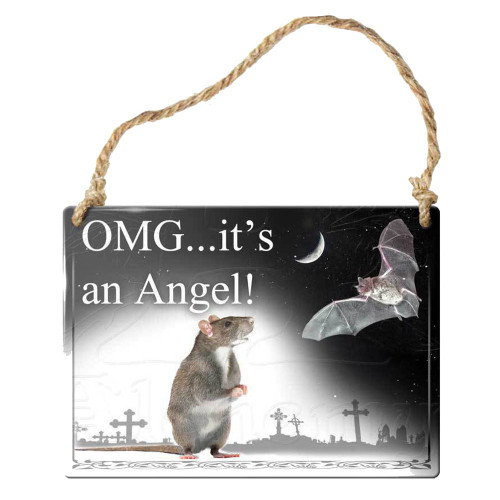 OMG It's an Angel Hanging Metal Sign Home Decor