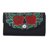Women's Wallet Black Leather with Roses Checkbook Style Pocketbook