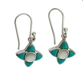 Turquoise and MOP sterling silver earrings.